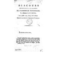 Discours prononcé à la barre de l'Assemblée nationale, par Madame Lacombe, le 25 juillet 1792, l'an 4e de la liberté