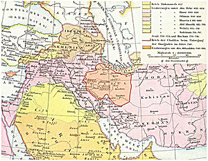 Greater Khorasan - An 1886 map of the 10th century Near East showing Khorasan east of the province of Jibal