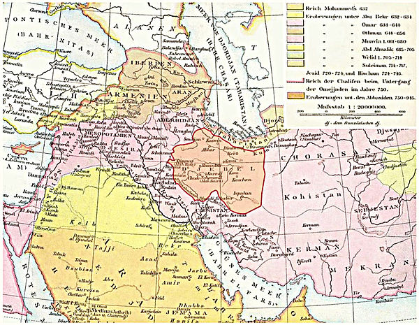 An 1886 map of the 10th century Near East showing Khorasan east of the province of Jibal Lagekarte Dschibal.jpg