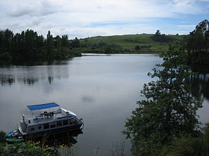 Waikato River - A boat on Lake Karapiro