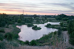 Ceres River Bluff Regional Park - A view of the pond on the Lower Terrance