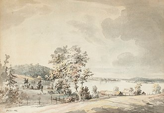 Jonas Carl Linnerhielm - Image: Landskap med stugor vid insjö, Kråknäs