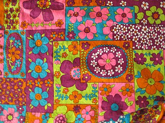 Flower power - Cotton fabric, late 1960s (USA)