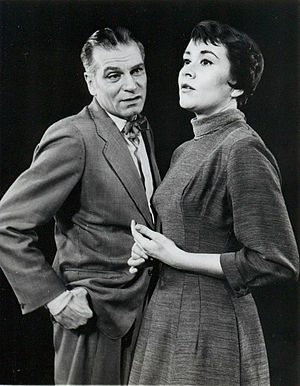 Laurence Olivier on stage and screen - Olivier, with Joan Plowright in The Entertainer on Broadway in 1958.
