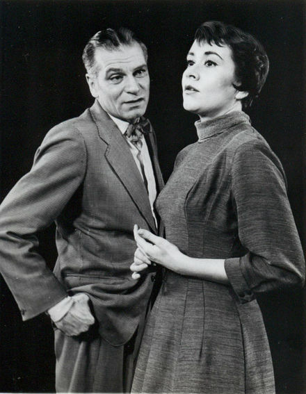 Olivier, with Joan Plowright in The Entertainer on Broadway in 1958 Laurence Olivier and Joan Plowright 1960.jpg