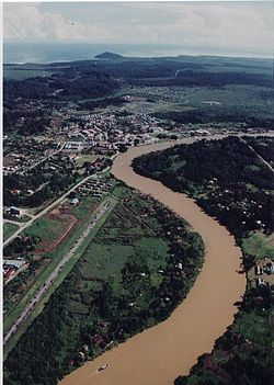 Aerial view of Lawas town