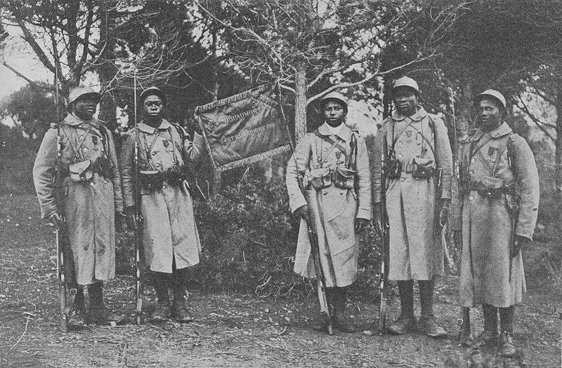 File:Le fanion du 43e bataillon de tirailleurs sénégalais décoré de ka fourragère.jpg