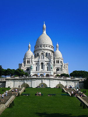 Sacré-Cœur, Paris - The Basilica of Sacré-Cœur, as seen from the base of the butte Montmartre.
