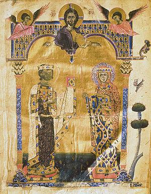 Keran, Queen of Armenia - Portrait of King Leo II and Queen Keran of Armenia by Toros Roslin, 1262.