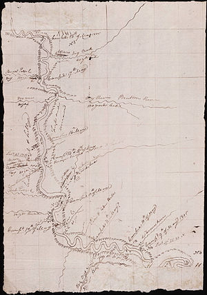 Charles M. Russell National Wildlife Refuge - A map by Meriwether Lewis documenting the Corps of Discovery's activities between May 9 and May 18, 1805 as they passed through what is now the CMRNWR.
