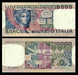 e3d9856cd8 La banconota da 50.000 lire, detta Volto di donna, emessa dal 1977 al 1982.