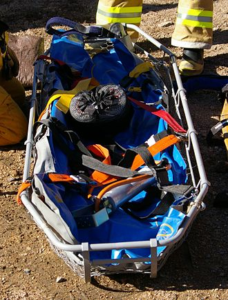 Litter (rescue basket) - A Stokes basket as used by a fire department, with a vacuum bag to restrain the person in the litter