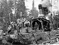 Loading crew and donkey engine, Wynooche Timber Company, near Montesano, ca 1921 (KINSEY 1590).jpeg