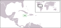 A map showing the location of Jamaica