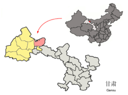 Jinta (pink) within جیوچوان prefecture (yellow) within Gansu (grey)