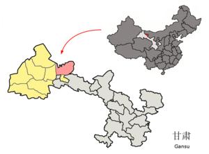 Jinta County - Jinta (pink) within Jiuquan prefecture (yellow) within Gansu (grey)