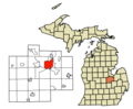 Location of Saginaw in Michigan and Saginaw County.png