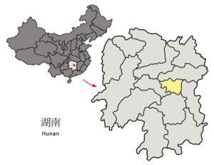 Xiangtan - Image: Location of Xiangtan Prefecture within Hunan (China)