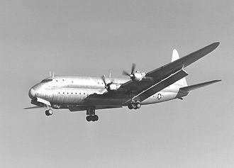 Lockheed R6V Constitution - The XR6O-1 Constitution landing at NAS Moffett Field.