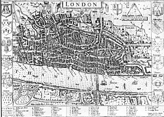 Tudor London - John Norden's map of London in 1593. There is only one bridge across the Thames, but parts of Southwark on the south bank of the river have been developed.