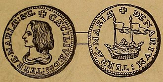 Maryland Tercentenary half dollar - Colonial penny issued by Lord Baltimore, as seen in a 19th century book