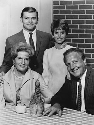 Edith Atwater - From TV's Love on a Rooftop. Back row, L-R: Pete Duel, Judy Carne. Front: Edith Atwater, Herbert Voland (1966)
