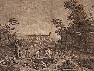 Vue des fouilles de 1805 à Paestum