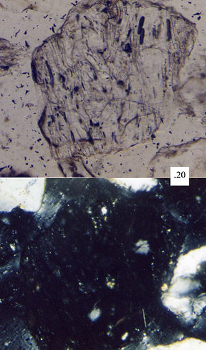 Aphanite - An aphanitic volcanic sand grain, with fine-grained groundmass, as seen under a petrographic microscope