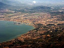 Luftfoto over Málaga.