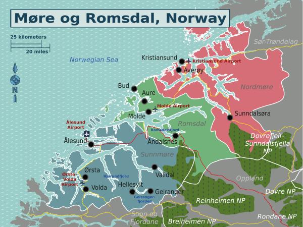 Møre Og Romsdal Travel Guide At Wikivoyage - Norway map alesund