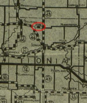 M-86 (Michigan highway) - December 1, 1927 state highway map showing M-86