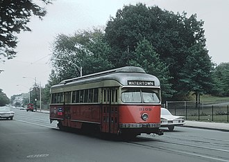 "Green Line ""A"" Branch - An ""A"" Branch trolley on Cambridge Street in 1968"