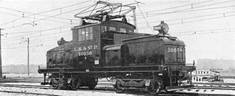 Electric locomotive - A Milwaukee Road class ES-2, an example of a larger steeplecab switcher for an electrified heavy-duty railroad