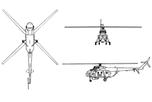Mil Mi-4 3-view drawing