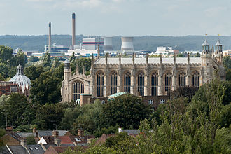 Slough Trading Estate - Slough Power Station as seen from Windsor Castle with Eton College chapel in the foreground