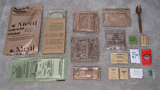 Camping food - Contents of a MRE package