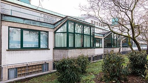 MTI-Hörsaalgebäude, Gebäude 44b, Uniklinik Köln, Joseph-Stelzmann-Straße 50, Ansicht von der Bardenheuerstraße-7258