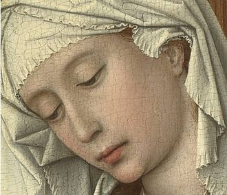 The Magdalen Reading - Detail showing the face and veil of Mary Magdalene painted in pure whites. The eyebrows and eyelids have been plucked in accordance with conventional ideals of beauty at the time.