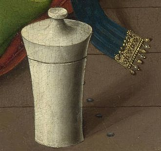 The Magdalen Reading - Detail showing the jar and row of nails on the timber floor at the lower right corner of the panel. Note the attention paid to the gilded clasp and fall of the shadow.