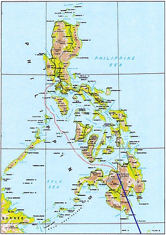 Douglas MacArthur's escape from the Philippines - Route of MacArthur's escape by PT boat (red) and B-17 (blue)
