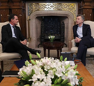 Amgen - Argentine president Mauricio Macri meets with heads of Amgen, in 2018
