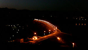 Mahabad Dam - The dam at night
