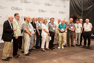 Mainau Declaration - A group photo of some of the Nobel laureates who initially signed the Mainau Declaration 2015. Photo: Christian Flemming