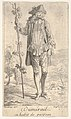 Man in tricorn hat and overcoat, shown in frontal view and holding a staff with a winding vine, landscape with trees beyond MET DP834134.jpg