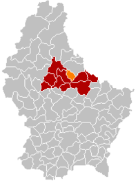 Map of Luxembourg with Diekirch highlighted in orange, the district in dark grey, and the canton in dark red