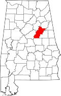Kart over Alabama med Talladega County uthevet
