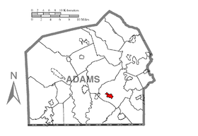 Map of Bonneauville, Adams County, Pennsylvania Highlighted.png
