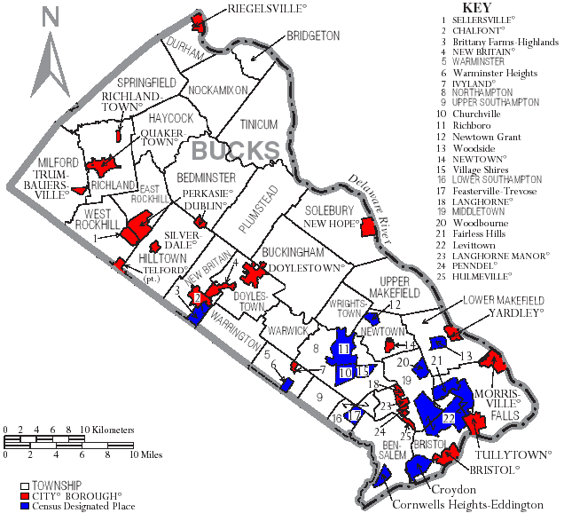 Map of Bucks County Pennsylvania With Municipal and Township Labels