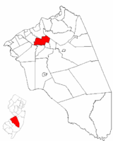 Westampton Township highlighted in Burlington County. Inset map: Burlington County highlighted in the State of New Jersey.