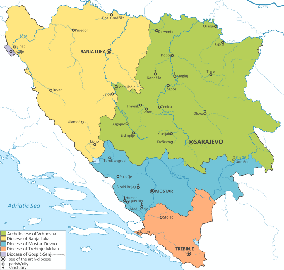 Map of Dioceses in Bosnia and Herzegovina EN
